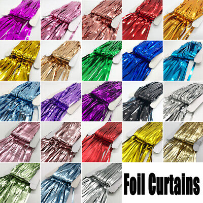 2 x Foil Curtains Metallic Fringe Curtains Shimmer Curtain for Party Decorations - Decorations For Curtains