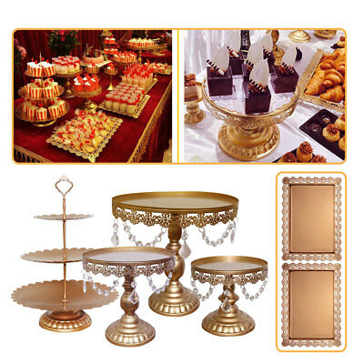 6pcs Set Crystal Decor Metal Cake Holder Wedding Dessert Stand Cupcake - Decorative Cupcake Holders