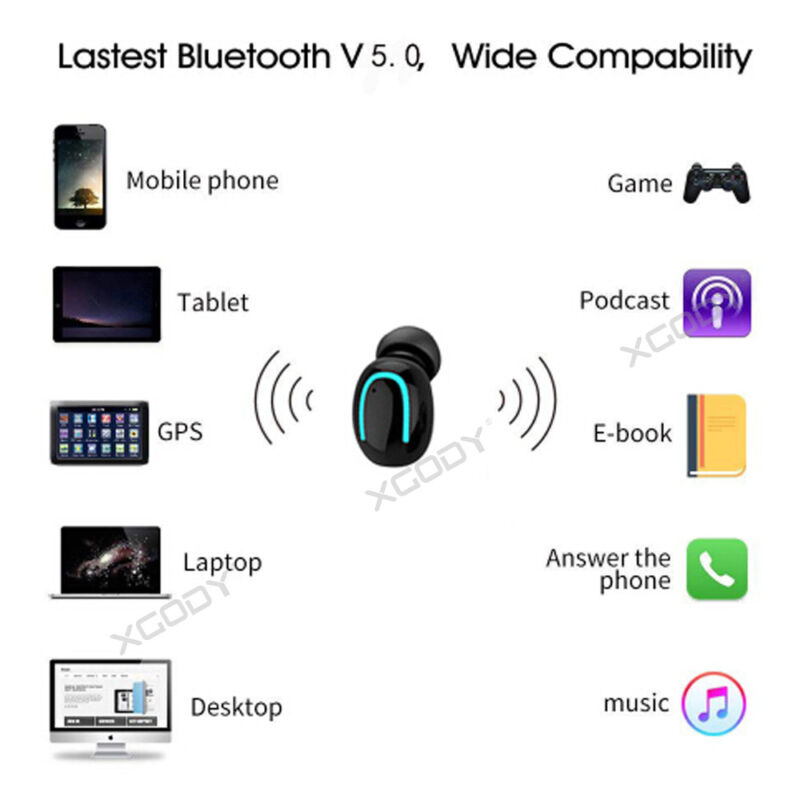 Wireless Earbud TWS Mini True Bluetooth 5.0 Stereo Earphone Bass In-Ear Headset