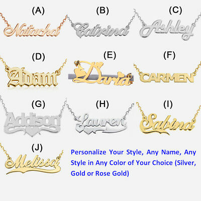 Personalized Gift Sterling Silver Necklace Any Name Plate Necklace Jewelry S 18""