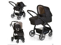 HAUCK LACROSSE FULL TRAVEL SYSTEM DOTS BLACK PRAM PARENT FACING PUSHCHAIR CARSEAT CARRYCOT RAINCOVER