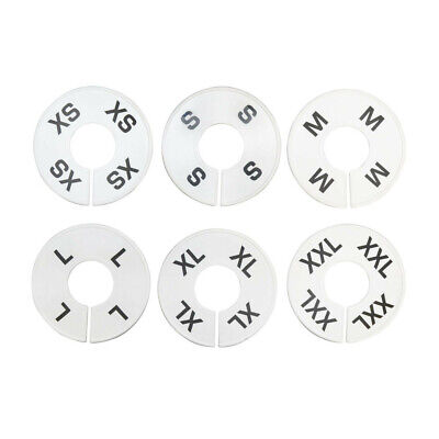 10 Set 60 Pc White Round Clothing Rack Size Dividers Plastic Hangers Ring Xs-xxl