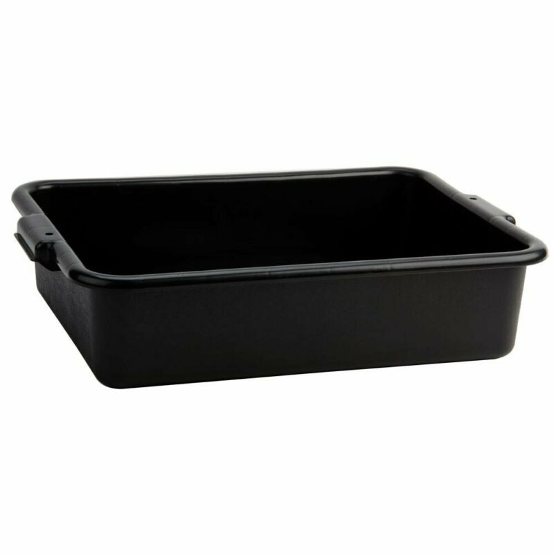 "Tablecraft Black 21"" x 16"" x 5"" Polyethylene Plastic Bus Tub, Bus Box"