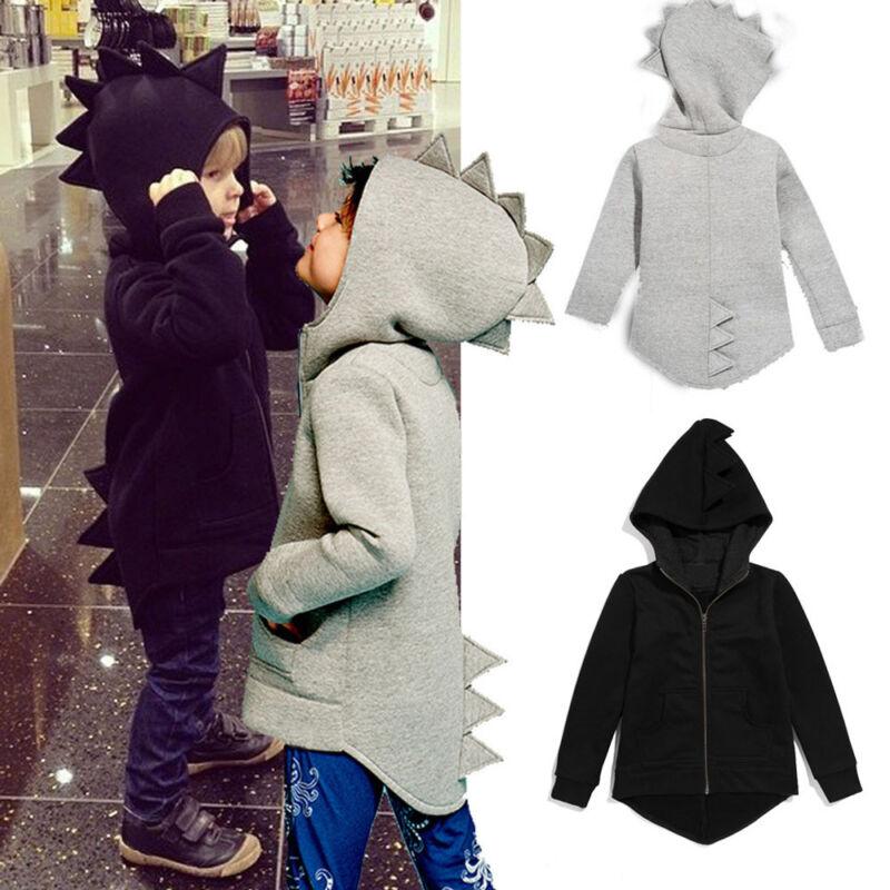 Toddler Baby Kid Girl Boy Jacket Dinosaur Hooded Coat Outerwear Cosplay Costume