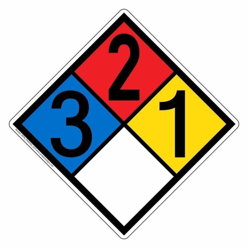 NFPA 704 3-2-1-0 Placard Sign, 15 inch Plastic for Hazmat, Made in USA