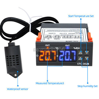Digital Stc-3028 Ac110-220v Dual Lcd Temperature Humidity Controller Thermostat
