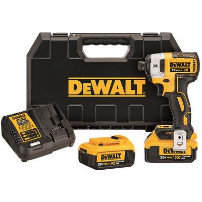 "DEWALT DCF887M2 20V MAX XR Li-Ion 4.0 Ah Brushless 0.25"" 3-S"