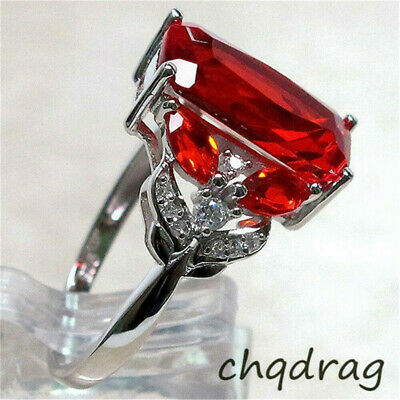 Women Luxurious 925 Silver Large Red Ruby Jewelry Ring Wedding Band Size 6-10](Red Wedding Ring)