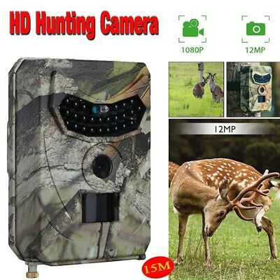 Hunting Trail Camera 12MP HD1080P PIR IR Wildlife Scouting Cam Night Vision IP56