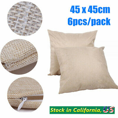6pcs 18 X 18 Linen Sublimation Blank Pillow Case Cushion Cover For Printing
