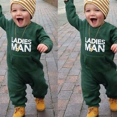 Cute Infant Kid Baby Toddler Letter Soft Boys Outfits Clothes Romper Jumpsuit ()