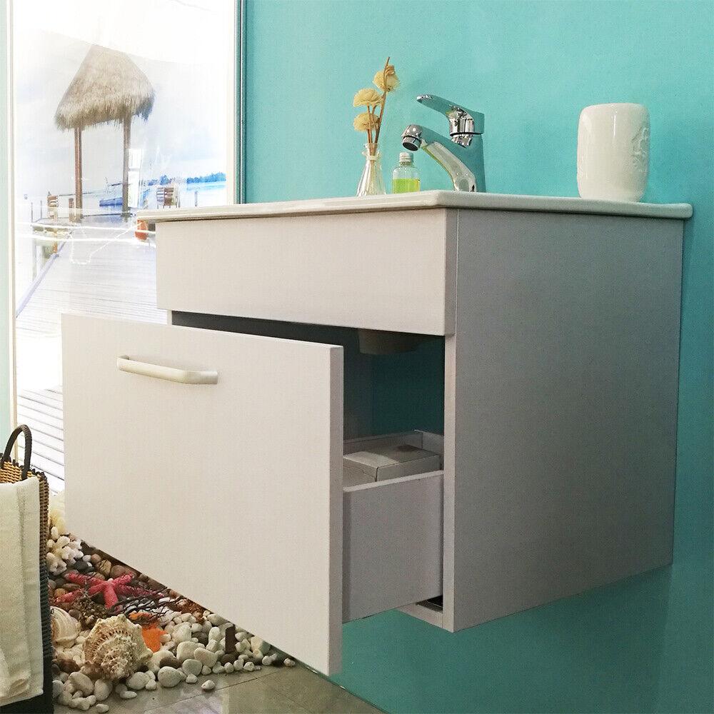 Badmöbel Set 60cm Weiß Keramikbecken+Unterschrank Gäste WC Waschtisch Waschplatz