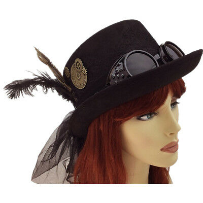 Steampunk Women Top Hat Feather Halloween Costume Cosplay Party With Goggles