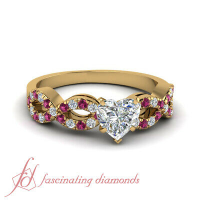 3/4 Carat Heart Shaped Modern Diamond Rings With Round Pink Sapphire Accents GIA