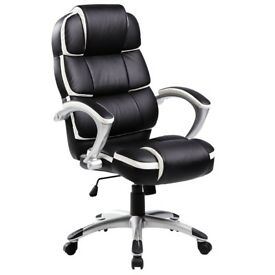 """Oypla Office Chair """"Luxury Designer Computer Office Chair - Black with White Accents"""""""
