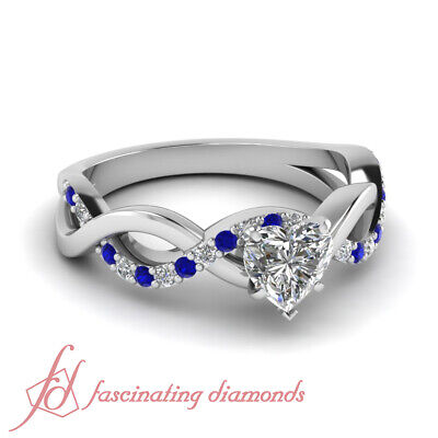 Blue Sapphire Intertwined Engagement Ring 0.85 Ct Heart Shaped Diamond VVS2 GIA