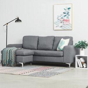 2, 3 Seater L-Shape Linen Fabric Corner Sofa Armchair with Metal Legs Furniture