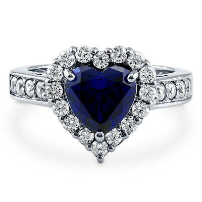 BERRICLE Sterling Silver Heart Shaped Cubic Zirconia CZ Halo Engagement Ring - Heart Shaped Cubic Zirconia Rings