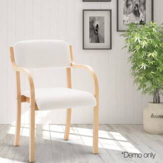 Set of 2 PU Leather Dining Chair White and Beige
