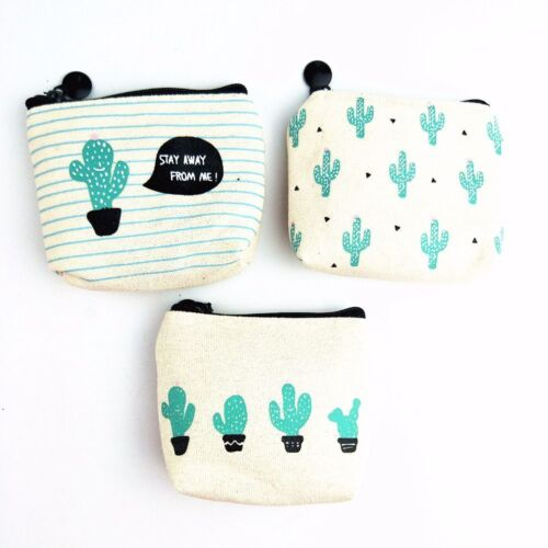 Cactus Women Girl Kid Cute Change Pouch ID Card Storage Bag Wallet Coin Purse