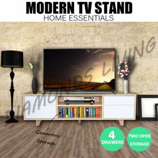 Wooden Color TV Stand Entertainment Unit 140CM Cabinet Plasma LCD