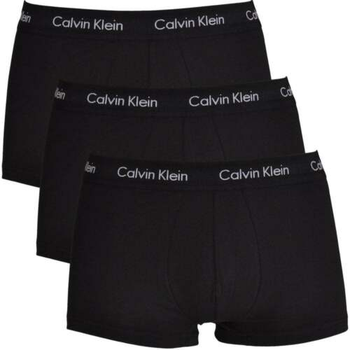 Calvin Klein Underwear Men CK Cotton Stretch 3 Pack Low Rise Trunk   Black  Boxer e4d885e0e