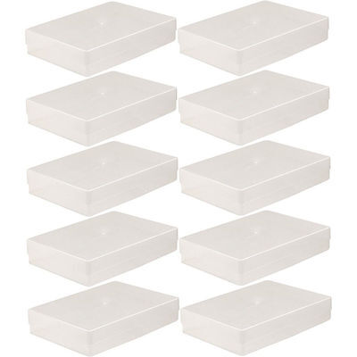 10 X A4 CLEAR PLASTIC BOX HOLDER PAPER STORAGE ENVELOPE CRAFT LEAFLET BOXES NEW
