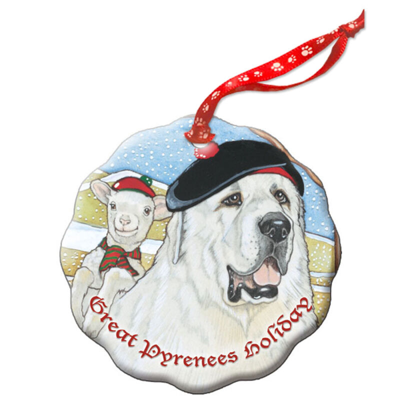 Great Pyrenees Holiday Porcelain Christmas Tree Ornament