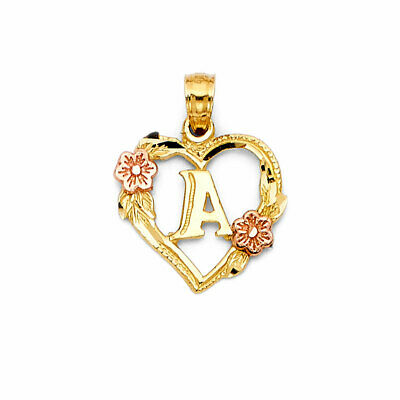 14K Real Yellow Rose Gold Initial Letter Heart Flower Small Charm Pendant A to -