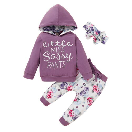 LAPA Newborn Infant Baby Girl Hoodies Tops Pants Headband Clothes Outfits Set US
