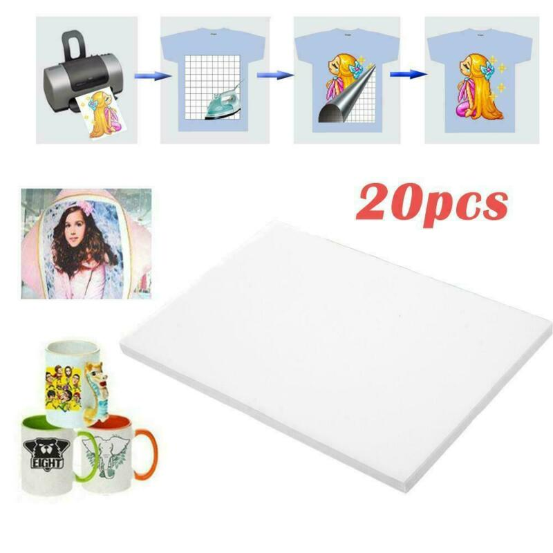 20PCS A4 Heat T-Shirt Transfer Paper For Light Fabric DIY Gift Inkjet Print Hot!
