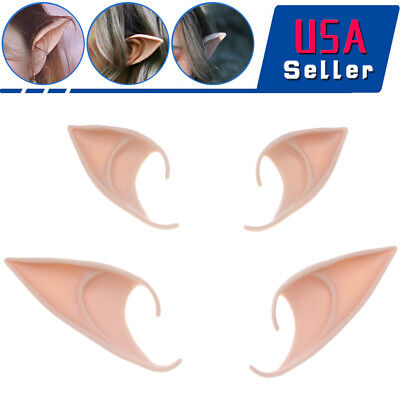 Elf Costume For Child (2 Pairs Latex Pixie Elf Ears Cosplay Fairy Costume Tip Masks For Girls)