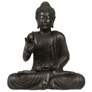Buda-Chakra-Figurita-Marron-Oscuro-Madera-Acabado-30cm-Adorno-Figurita