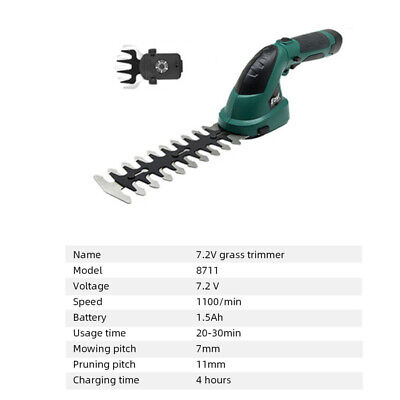 2-in-1 Portable 1100rpm 1.5A.h Hedge Edger Grass Trimmer for Mower Shrub Cutter