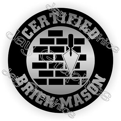 Certified Brick Mason Hard Hat Sticker Decal Funny Helmet Label Cement Concrete