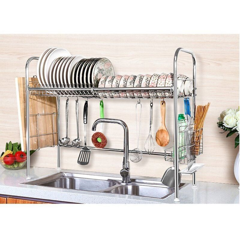 Kitchen Tool Dish Drying Rack Stainless Steel Dish Storage with Chopstick Holder