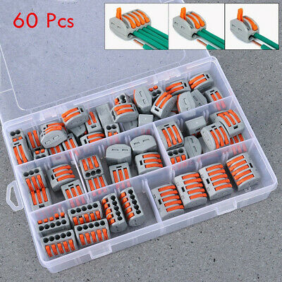 60pc Electrical Wire Quick Connector Universal Terminal Wiring Cable Block &Case