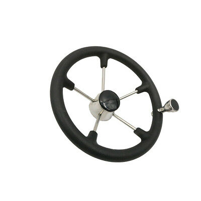 Boat 13-1/2 Inch 5 Spoke Steering Wheel With Black Foam Grip Knob Destroyer