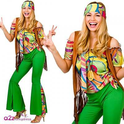 Groovy Hippie Damen Retro Festival 60's 70's Hippy Fancy Dress Kostüm (60 S Fancy Dress Kostüme)