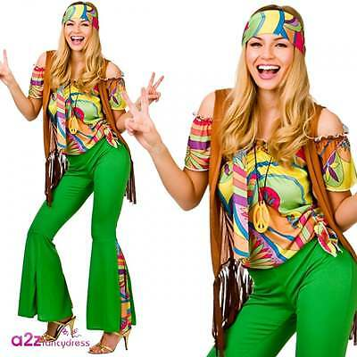 Damen Fancy Dress (Groovy Hippie Damen Retro Festival 60's 70's Hippy Fancy Dress Kostüm)