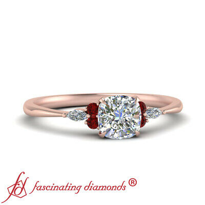 3/4 Carat Cushion Cut Diamond And Ruby Delicate Engagement Ring In 14K Rose Gold