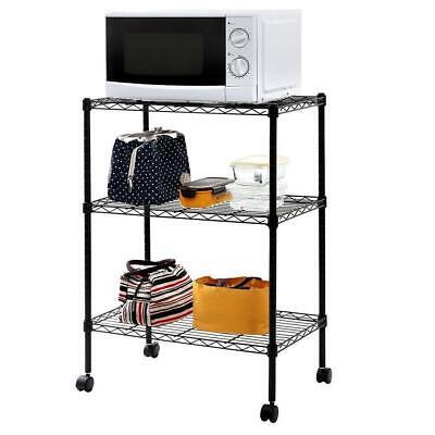 3 Tier Wire Shelving Rack Cart Kitchen Unit Wcasters Shelf Wheels Heavy Duty