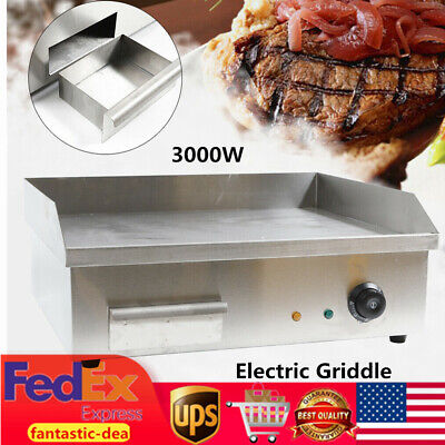 Electric Griddle Flat Top Grill 3000w 548x350mm Hot Plate Bbq Cooking Countertop