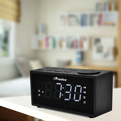iTronics LED Digital Alarm Clock with Radio AM/FM Snooze fast USB charging