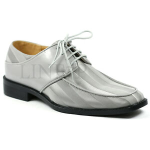 mens light gray satin striped lace up tux fashion dress