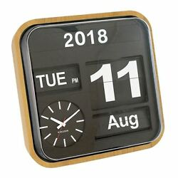 Wall Clock Big Flip Bamboo Wood Finish Retro Calendar Stylish Designer Timepiece