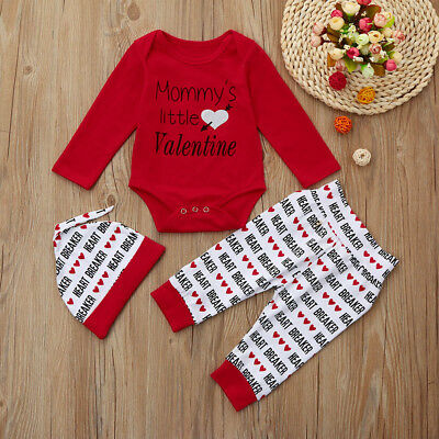 3PCS Newborn Infant Baby Boys Romper+Pants+Hat Valentine's Day Outfits Set KV - Toddler Boy Valentine Outfit