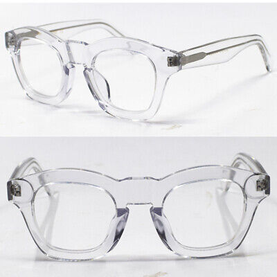 Vintage Round Acetate Crystal Eyeglass Frames Transparent Thick Full Rim (Thick Rimmed Round Glasses)