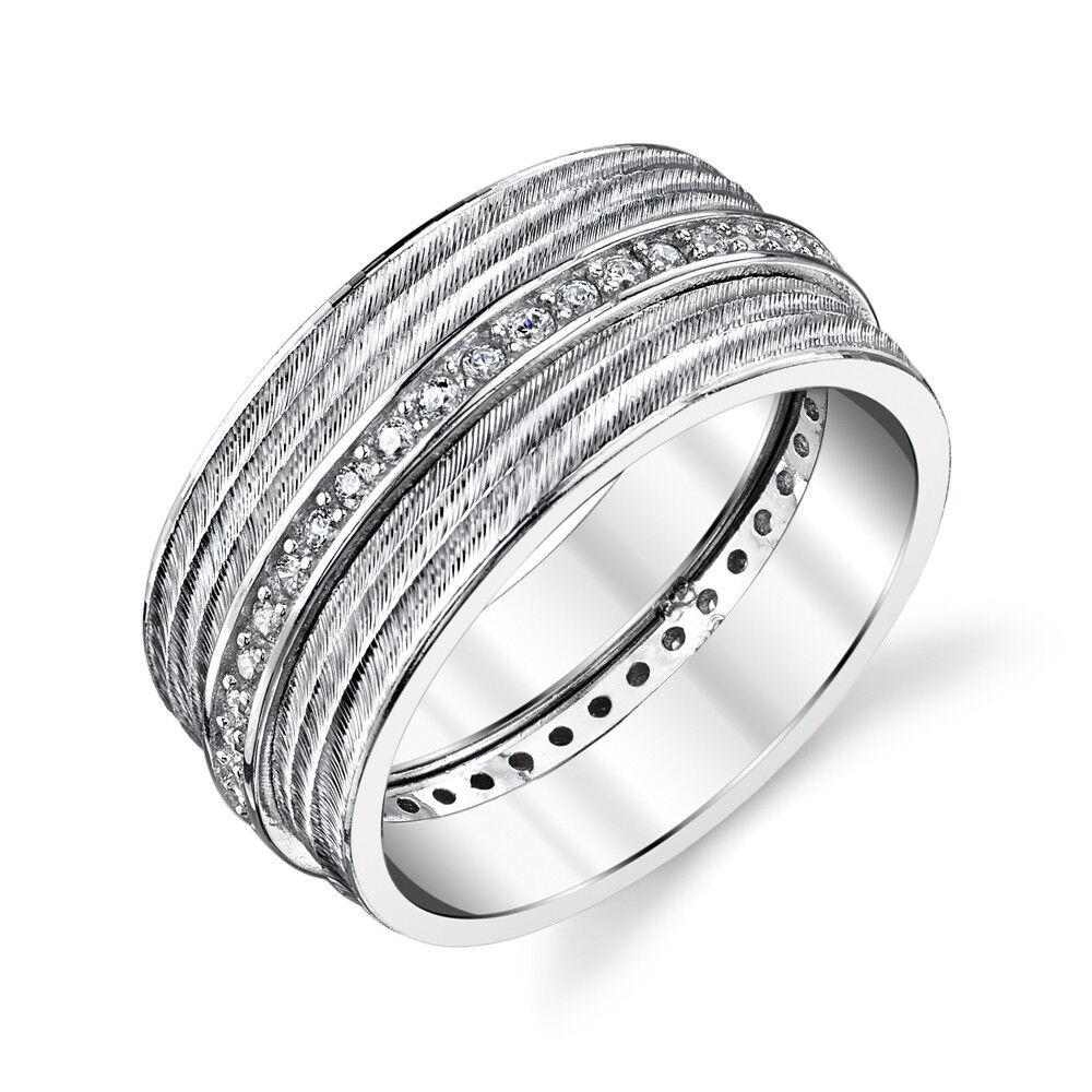 Women's Cubic Zirconia Wide Sterling Silver Cz Wedding Ba...