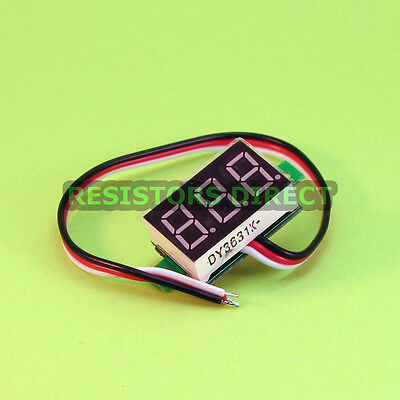 Red 0-100V DC Mini Digital Voltage Voltmeter Panel 3 Wire LED Display R07